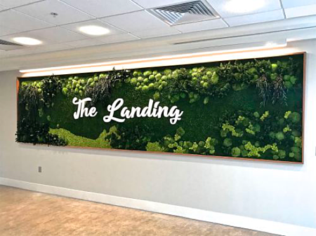 The Landing Bistro Green Wall at Collington